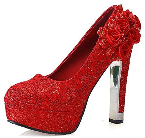 Idifu Mujeres Sexy Lace Floral Extreme Tacón Alto Chunky Plataforma Bombas Punta Redonda Slip On Zapatos De Boda Rojo