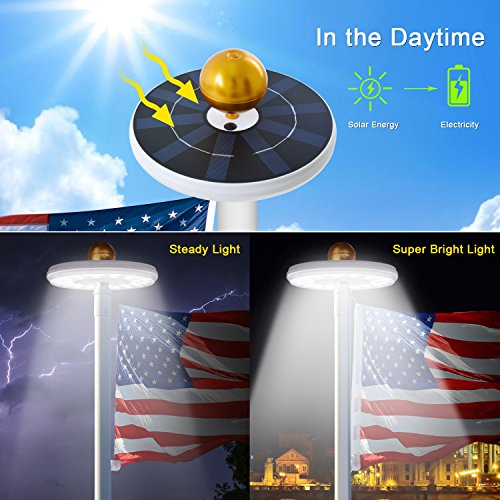 Solar Flag Pole Lights 32 LED Solar Powered Flagpole Lighting Night Light Kit for 15 to 25 Ft Top (Built-in Li-ion Battery) by Feelle (Image #4)