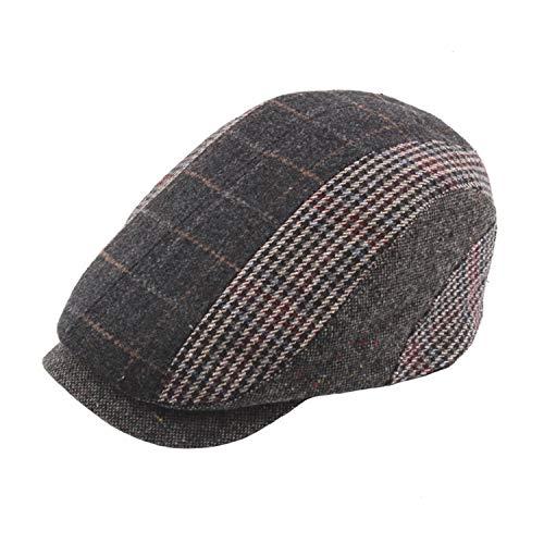 e63f7bf187 eud-UW Patchwork Cap Berets Checkered Flat Caps Women Tweed Duckbill Hats  Men Adjustable Winter Vintage,Dark Gray Beret,55-60 cm