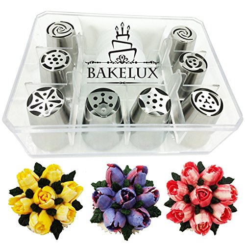 8 Russian Piping Tips With Video Instructions - Flower Icing Nozzles Tool Set, Coupler, Pastry Bag, Storage Box - BakeLux
