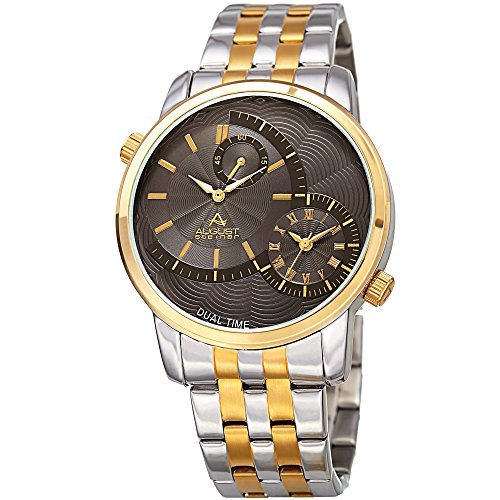 August Steiner Men's Quartz Stainless Steel Casual Watch, Color:Two Tone (Model: AS8210TTG)