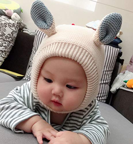 72e87158726 SUMOLUX Kids Warm Hood Beanies Hat Knitted Hippo Ears Animal Hats Plush  Lined Coif for Winter
