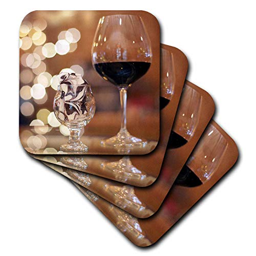 3dRose Stamp City - still life - Photograph of a glass of red wine and some tasty toffee in a glass. - set of 4 Ceramic Tile Coasters (cst_302461_3)