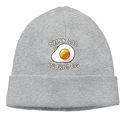 Rongyingst Thank God It's Fried Egg Beanie Wool Hats Knit Skull Caps Warm Winter Beanies for Men Women Ash (Skulls Crossbones Grey Fleece And)