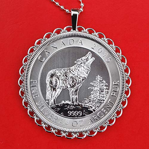 Canada 2015 .9999 Fine Silver 3/4 Oz Argent Pur 2 Dollars Bullion Coin Solid 925 Sterling Silver Necklace NEW - Grey Wolf (2015 Canada Grey Wolf)
