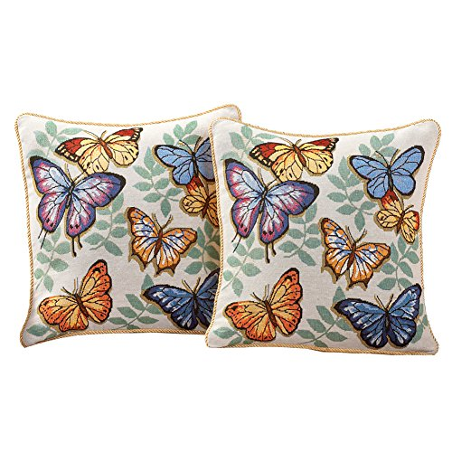 Collections Etc Butterfly Decorative Tapestry Accent Pillow Covers, 17