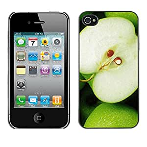 Paccase / SLIM PC / Aliminium Casa Carcasa Funda Case Cover - Fruit Macro Green Apple - Apple Iphone 4 / 4S