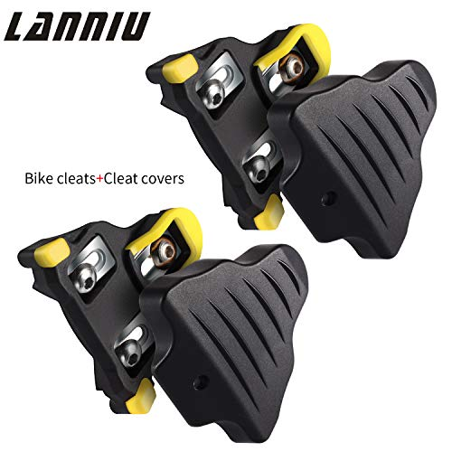 LANNIU Road Bike Cleats+Cleat Covers Set,Compatible with Shimano SPD-SL Pedals SM-SH11 Cleats,6 Degree Float for Road Bike Outdoor/Indoor Spin Cycling Shoes Man ()