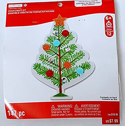 christmas tree and ornament foam craft kit 147 pieces makes 12 trees msrp 799