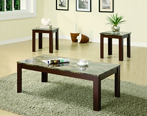 Coaster Home Furnishings  3 Piece Faux Marble Top Coffee Table and End Table Occasional Set - Cherry 3 Piece Living Room Coffee Table