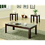 Coaster Fine Furniture 700395 3 Piece Coffee Table & End Table Set, Marble, Medium