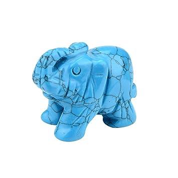 Vanvler 1Pcs Hand Carved Elephant Jade Gemstone Ornament Craft Paperweight 1.5 Inch