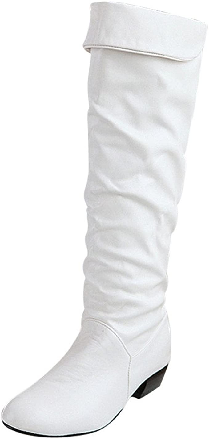Ros1ock Womens Boots Knee High Solid