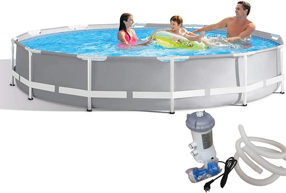QQLK Frame Pool Redonda Piscina Desmontable Tubular 366 X 76 Cm, Piscina Sobresuelo(6503L), Malla Compuesta De 3 Capas, Montaje RáPido, Piscina para NiñOs Y Adultos