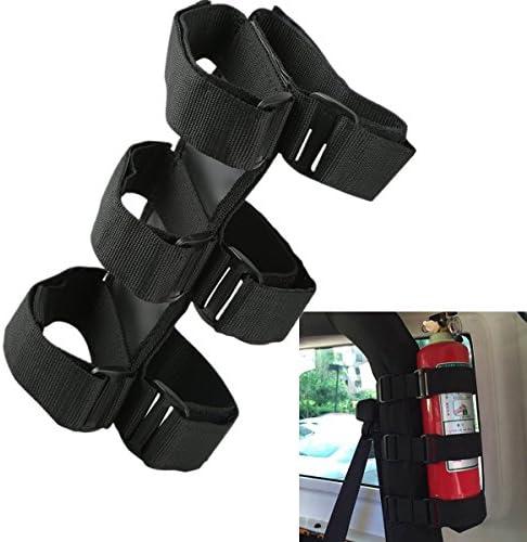Zwarte rol bar auto poederblusser houder riem brandblusser houder opslagbanden voor TJ YJ JK CJ Jeep Wrangler