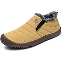 WateLves Mens Womens Snow Boots Winter Anti-Slip Ankle Booties Outdoor Slippers Slip On with Warm Fully Fur Lined
