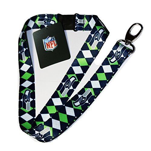 NFL Seattle Seahawks Argyle Lanyard, Blue/Green/White, One (Seattle Seahawks Nfl Lanyard)
