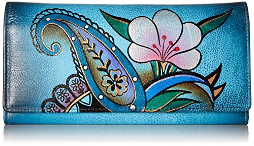 - Anna by Anuschka Hand Painted Leather | Triple Compartment Wallet/Clutch | Denim Paisley