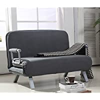 HomCom Suede Fabric Lounge Futon Sofa Chair - Gray