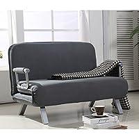 HomCom Suede Fabric Lounge Futon Sofa Chair - Gray