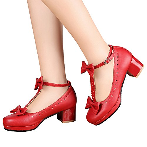 getmorebeauty Women's Lolita Shoes Red Vintage Sweet T-Straps Bows Mary Janes Shoes 7 B(M) US (Shoes Mary Jane Red)