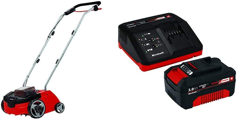 Einhell GC-SC 36/31 Li-Solo - Aspiradora (36 V, Aspiradora de tambor, Bolsa para el polvo, 30 L, Negro, Gris, Rojo) + Power X-Change Kit cargador con batería, tiempo de carga de 60