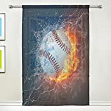 WOZO Custom Baseball Fire Water Sheer Panel Pair Curtains 55x78 1 Piece Modern Window Treatment Collection For Living Room Bedroom Home Decor
