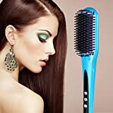 Hair Brush Straightener, [New Arrival]Euph Professional Anion Ceramic Instant Detangling Brush, Built-in Double Anion Launching Rapid Heating Technology Anti Scald Nano Brush (Blue)