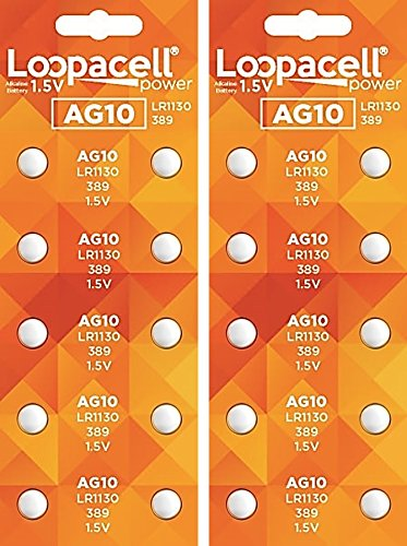 LOOPACELL AG10 LR1130 389 Alkaline Watch Batteries X 20 (389 Battery compare prices)