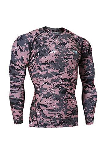 (Nooz Men's Cool Dry Compression Baselayer Long Sleeve T Shirts - Medium, Hot Pink Camo )