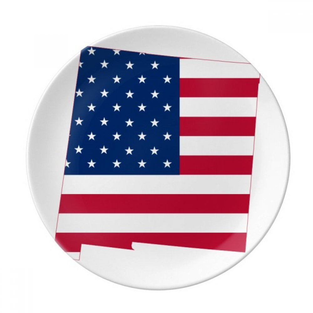 America Map Stars Stripes Flag Shape Dessert Plate Decorative Porcelain 8 inch Dinner Home