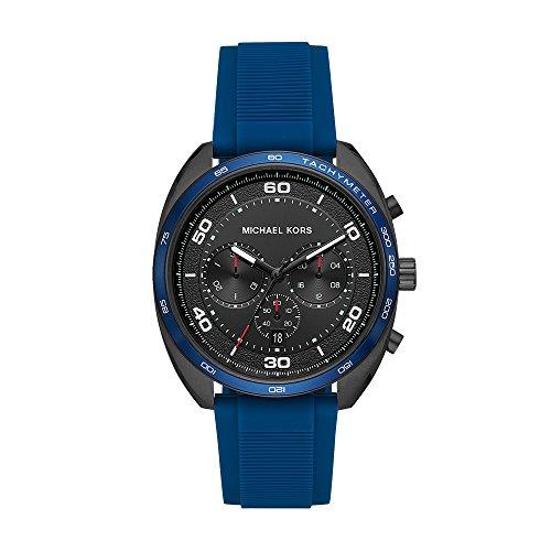 Michael Kors Men's Dane Stainless Steel Quartz Silicone Strap, Blue, 22 Casual Watch (Model: MK8612)