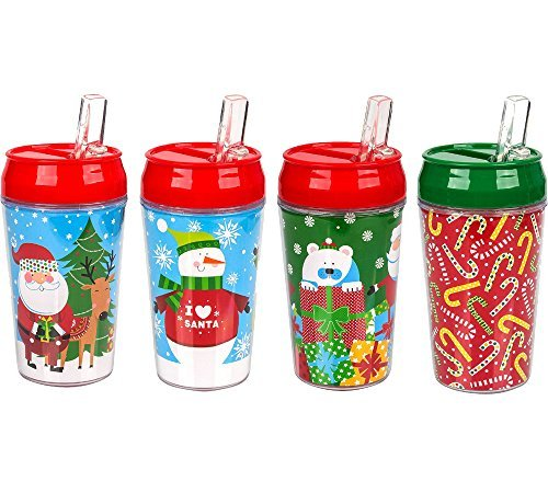 (Christmas Travel Tumbler 4 Pack, 11 oz Santa Claus, Christmas Tree and Snowman Designs - bogo)