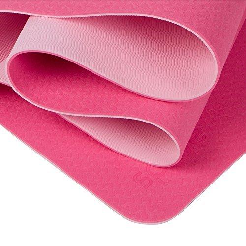 NEW GLOBAL YOGA MAT ECO - FRIENDLY - TPE Twin Color Yoga Mat - PINK + ROSE - 100% Thermoplastic Elastomer