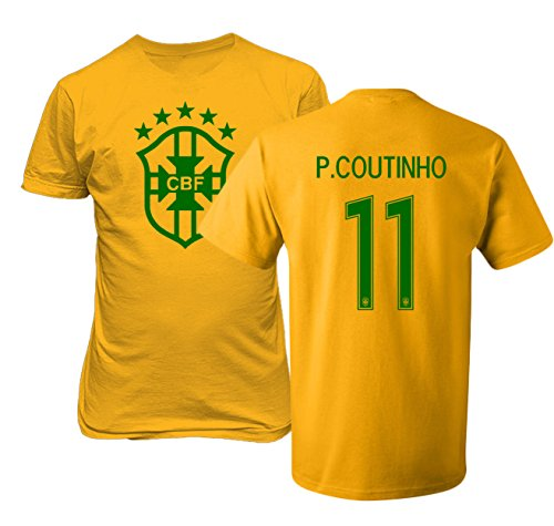 Tcamp Brazil 2018 National Soccer #11 Philippe COUTINHO World Championship Men's T-Shirt (Gold, Adult Small)