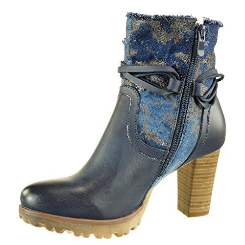 bi CM donna camouflage Blu alto blocco Scarponcini tanga Scarpe Stivaletti Tacco Angkorly cavalier materiale nodo 8 a Scuro Moda CwXp0qa