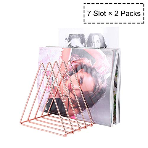 File Holder Magazine Holder Triangle Iron Newspaper Holder Magazine File Magazine Storage 7 Section for Office Home Decoration (Rose Gold2 Packs)