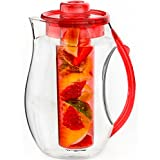 Vremi Fruit Infuser Water Pitcher - 2.5 liter Plastic Infusion Pitcher with Lid for Loose Leaf Tea - Large BPA Free Infuser Pitcher with Spout - 84 oz Sangria Pitcher Vodka Infuser Insert - Red