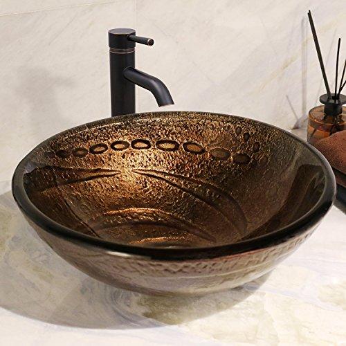 Oval Vessel Lavatory Sink (Enbol GS-4110 Standard Round Artistic Tempered Bathroom Glass Vessel Vanity Sink Lavatory Round Bowl Pattern Vanity Basin)