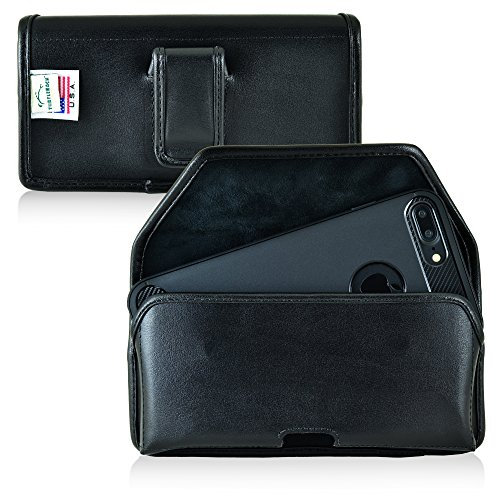 Turtleback Holster for iPhone 8 Plus, iPhone 7 Plus, Black Belt Case Leather Pouch with Executive Belt Clip Horizontal Made in USA