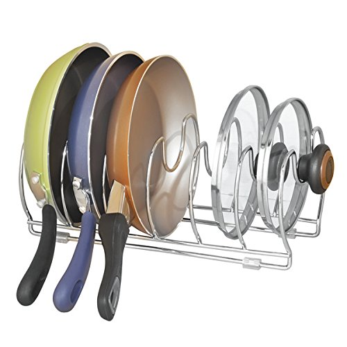 mDesign Pot and Pan Organizer Rack for Kitchen Cabinet, Pantry and Shelves - Organizer Holder with Six Slots for Skillets, Frying Pans, Lids, Vertical or Horizontal Placement - Steel Wire, Chrome (Cabin Cutting Board)