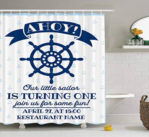 Summor Fabric Shower Curtain Nautical Sailor Theme First Birthday Party Invite Blue Amp White Sea 72x78 inches Mildew Resistant Waterproof Bathroom Shower Curtains Set of Hooks