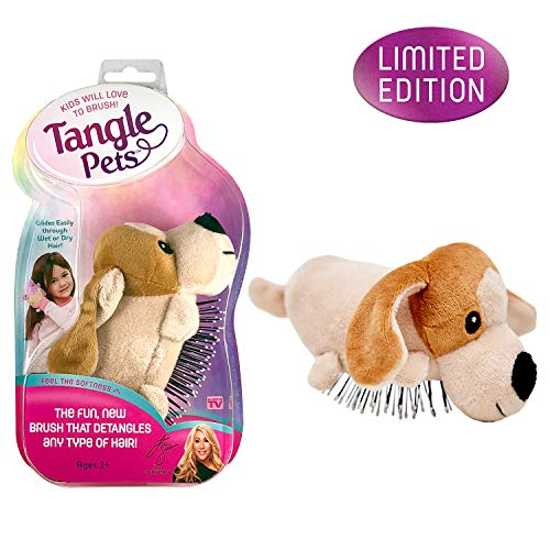 Tangle Pets PEPPER THE PUPPY- The Detangling Brush in a Plush, Great for Any Hair Type, Removable Plush, As Seen on Shark Tank