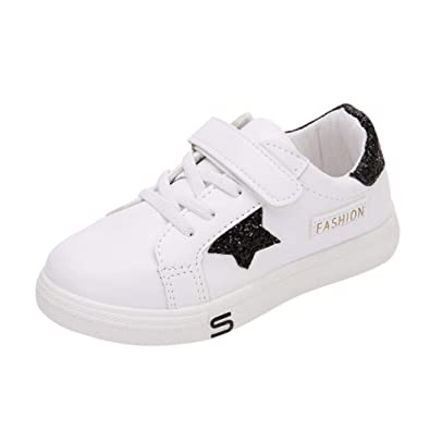 a9af2b84a4dbb GongzhuMM Paillettes Pentagramme Chaussures Enfant Blanc Sneakers Garçons  Filles Baskets Chaussures de Course Chaussure Bebe Hiver