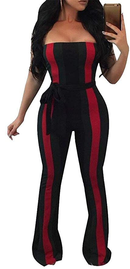 84a4a508b67 Amazon.com  Clearance Stylish Strapless Stripes Long Pant Romper Jumpsuit  with Belt Womens  Office Products