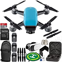 DJI Spark Portable Mini Drone Quadcopter (Sky Blue) EVERYTHING YOU NEED Ultimate Bundle
