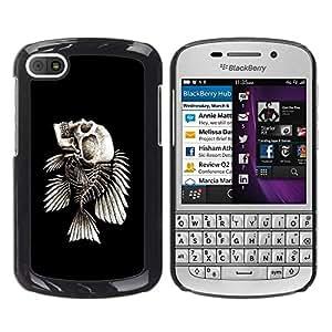 Be Good Phone Accessory // Dura Cáscara cubierta Protectora Caso Carcasa Funda de Protección para BlackBerry Q10 // Fish Skeleton