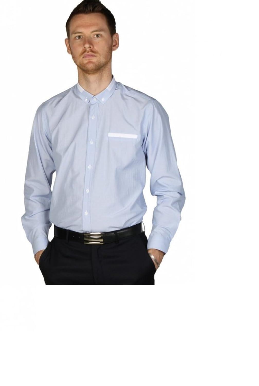 Slim fit men blue white pinstripe