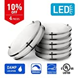 IN HOME 16-inch LED Flush mount Ceiling Light DR Series, 24w (125W equivalent), Dimmable, 4000K (Bright white), 1700 Lumens, Brushed Nickel Finish with Acrylic shade,(4 pack) UL and ENERGY STAR listed