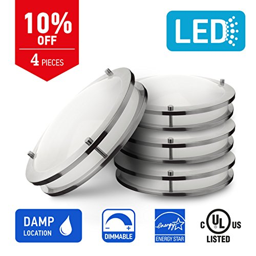 IN HOME 12-inch LED Flush mount Ceiling Light DR Series, 15w (75W equivalent), Dimmable, 4000K (Bright white), 1050 Lumens, Brushed Nickel Finish with Acrylic shade, (4 pack) UL and ENERGY STAR listed by IN HOME